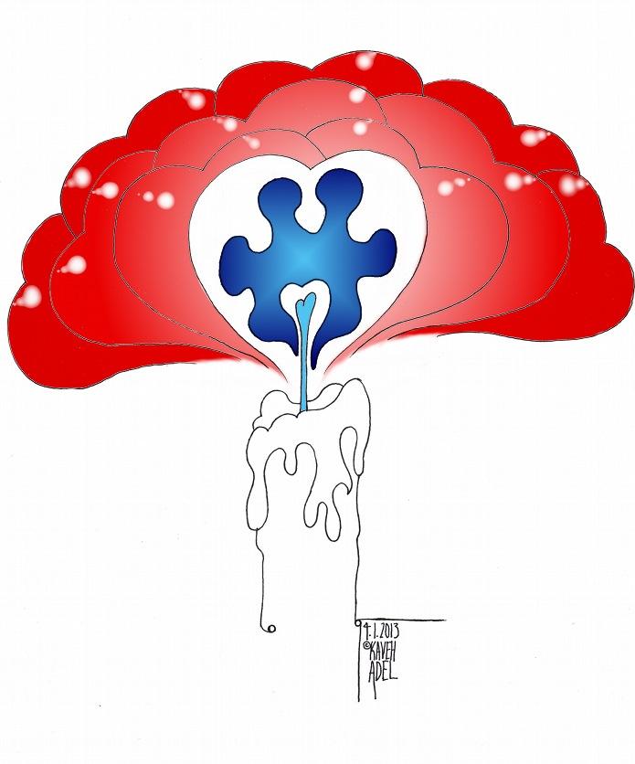 Cartoon Light It Up Blue Love 2013 Iranian American Cartoonist Kaveh Adel