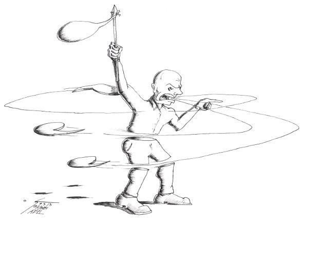 "Cartoon titled: ""Undermining Rhetoric"" by Iranian American Cartoonist Kaveh Adel"