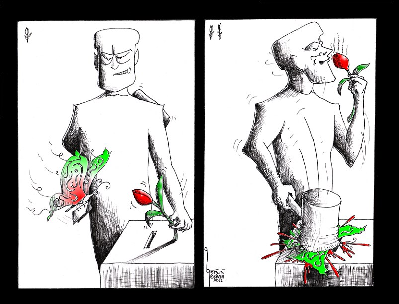 Political Cartoon Maulection 2013 Iranian American Cartoonist Kaveh Adel