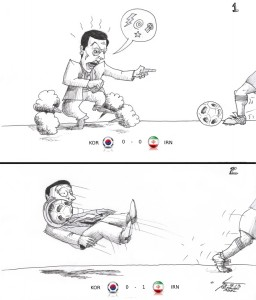 "Cartoon: ""Kang-hee Style meets Iranian Style Football "" By Kaveh Adel Iranian American Cartoonist"