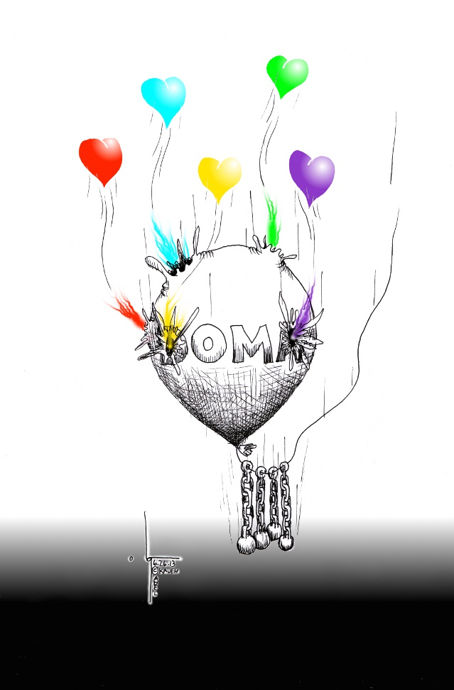 "Political Cartoon: ""Love Wins, DOMA Deflates"" By Kaveh Adel Cartoonist."
