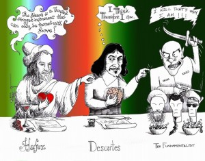 "Cartoon titled: ""Hafez, Descartes and the Fundamentalist"" By Iranian American Cartoonist, Kaveh Adel"