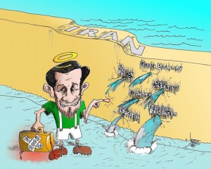 "Political Cartoon: ""Bye Bye Ahmadinejad you little Hero"" By Kaveh Adel Iranian American Cartoonist"