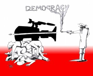 "Political Cartoon: ""Militant Democracy"" by Cartoonist Kaveh Adel"