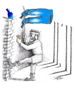 "Cartoon titled: ""Freedom via Jeans and Music"" By Iranian American Cartoonist, Kaveh Adel"
