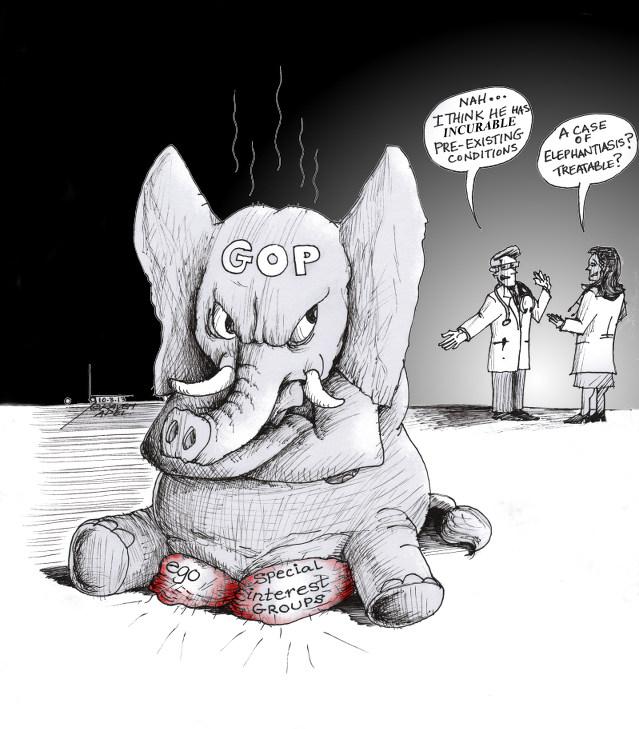 "Cartoon: ""Incurable Elephantiasis"" By Kaveh Adel Cartoonist"