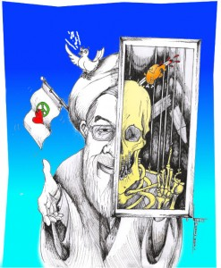 "Political Cartoon: "" Rouhani's Strings"" By Kaveh Adel Iranian American Cartoonist"