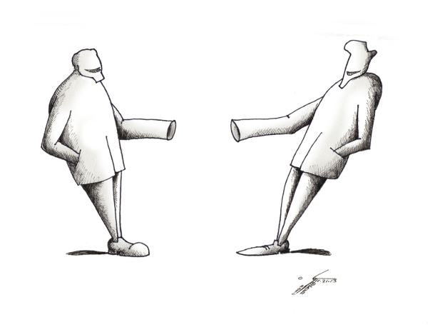 """Political Cartoon: """"Stubborn Reluctant Negotiations"""" By Kaveh Adel Iranian American Cartoonist"""