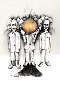 Political cartoon Roundheads Onionhead and Pointedheads by Kaveh Adel Iranian American Cartoonist