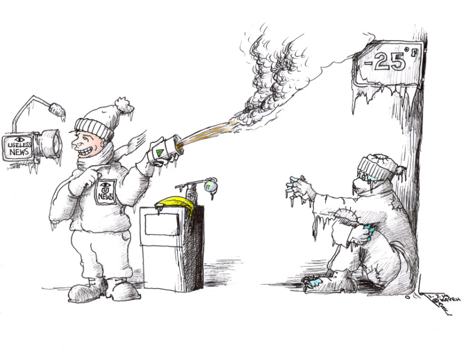 "Cartoon: ""Useless News for the Homeless"" By Kaveh Adel Iranian American Cartoonist."