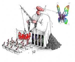 "Political Cartoon: ""The Worm and the Butterfly"" By Kaveh Adel Iranian American Cartoonist"