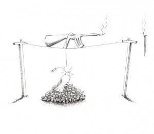 "Political Cartoon: ""Gun on a Wire"" By Kaveh Adel Iranian American Cartoonist"