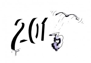 """Political Cartoon: """"Persistence of 2013"""" By Kaveh Adel Iranian American Cartoonist"""