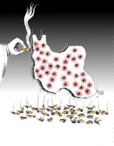 "Political Cartoon: ""35 year Degree Burns"" By Kaveh Adel Iranian American Cartoonist"