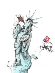"Political Cartoon: ""America the Beautiful"" By Kaveh Adel Iranian American Cartoonist"