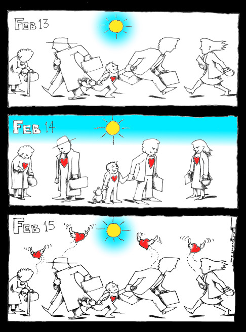 """Political Cartoon: """"Valentine's A Day"""" By Kaveh Adel Iranian American Cartoonist"""