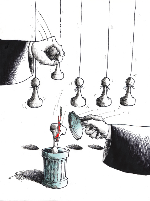 "Political Cartoon: ""Insignificant Pawn"" By Kaveh Adel Iranian American Cartoonist"