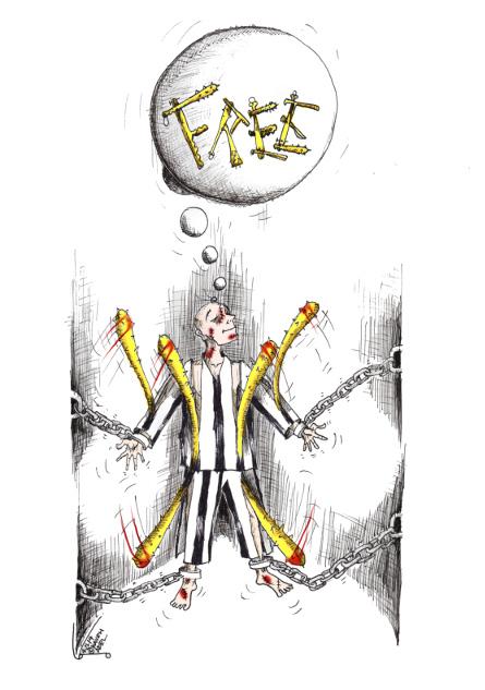 "Political Cartoon: ""Beaten Free "" By Kaveh Adel Iranian American Cartoonist"