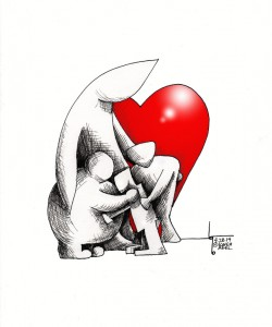 "Cartoon titled: ""Hug, Don't Judge "" By Iranian American Cartoonist, Kaveh Adel"