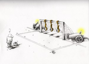 "Political Cartoon: ""Penalty"" By Kaveh Adel Iranian American Cartoonist"