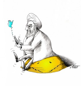 "Political Cartoon: ""Rouhani Tweets Happiness"" By Kaveh Adel Iranian American Cartoonist"