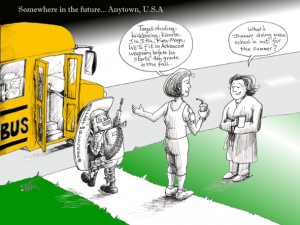 "Political Cartoon: ""Anytown USA School Bus"" By Kaveh Adel Iranian American Cartoonist"