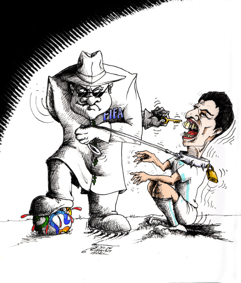 "Cartoon: ""FIFA and Suarez"" By Kaveh Adel Iranian American Cartoonist"