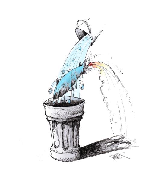 Cartoon Ice war in the bucket by Iranian American cartoonist Kaveh Adel