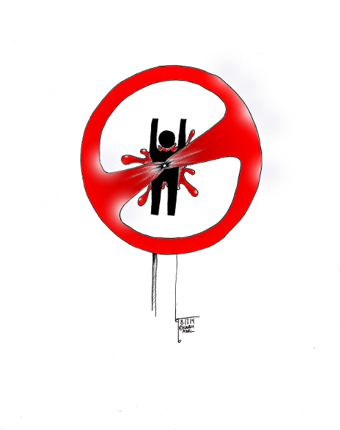 "Cartoon titled: ""Do Not Shoot"" By Iranian American Cartoonist, Kaveh Adel"