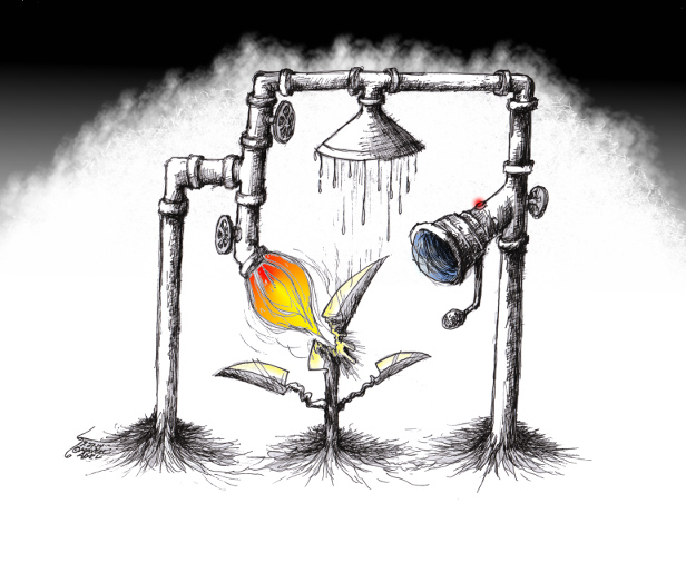"Political cartoon ""life and Death"" by Kaveh Adel Cartoonist"