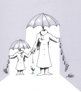 "Cartoon titled: ""Female Shelter"" By Iranian American Cartoonist, Kaveh Adel2014©KavehAdel.com"