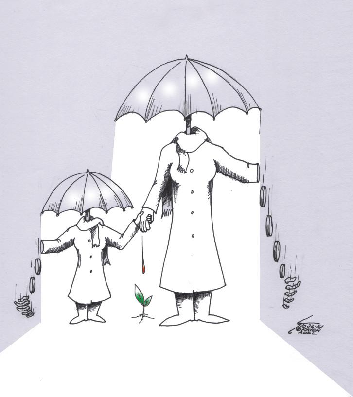 "Cartoon titled: ""Female Shelter""  By Iranian American Cartoonist, Kaveh Adel2014©KavehAdel.com"