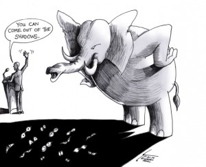 "Cartoon titled: ""Out of the Shadows"" By Iranian American Cartoonist, Kaveh Adel"