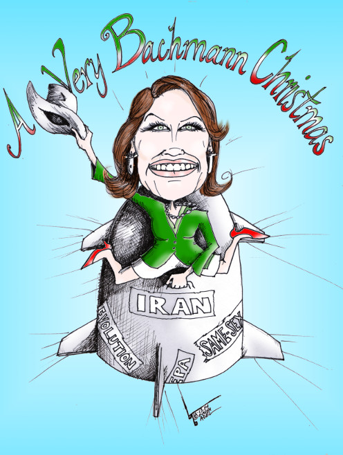 "U.S. Political Cartoon titled: ""A Very Bachmann Christmas""  By Iranian American Cartoonist, Kaveh Adel"