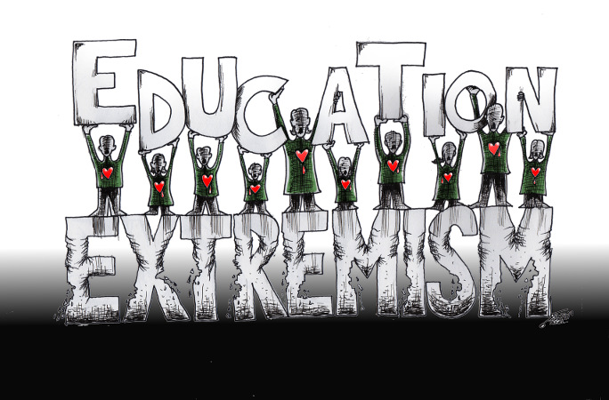 "Cartoon titled: ""Extremism II"" By Iranian American Cartoonist, Kaveh Adel 2014©KavehAdel.com"