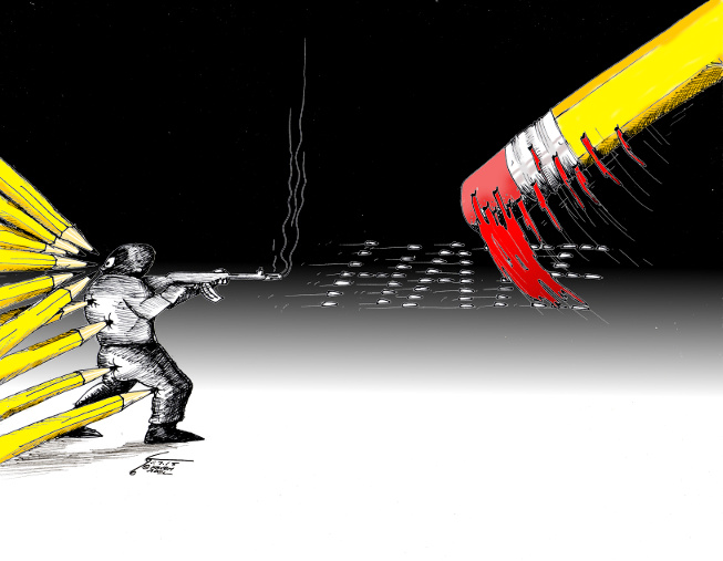 "Political cartoon ""Je Suis Charlie"" 2014 by Cartoonist Kaveh Adel"