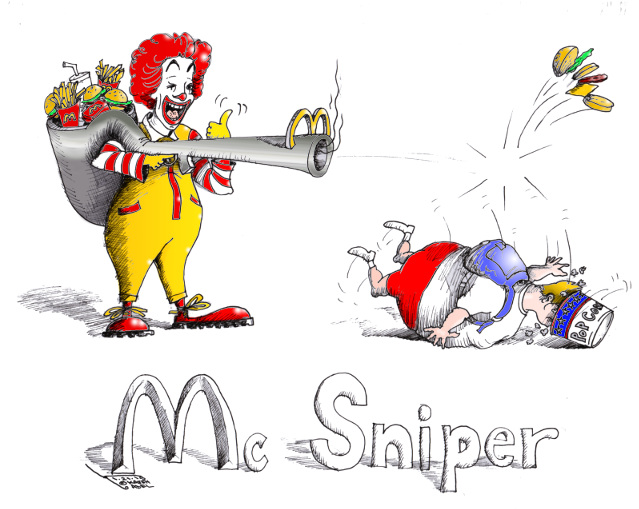 """Mc Sniper""By Iranian American Cartoonist, Kaveh Adel on FACEBOOK 2015©KavehAdel.com"