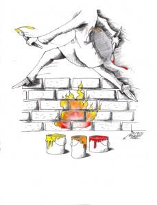 "Cartoon titled: ""Chahar Shanbeh Soori""By Iranian American Cartoonist, Kaveh Adel 2015©KavehAdel.com"