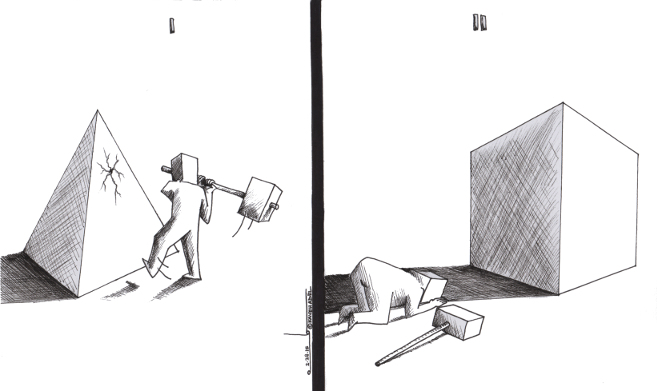 "Cartoon titled: ""Dogmatic Idolatry""  By Iranian American Cartoonist, Kaveh Adel  2015©KavehAdel.com"
