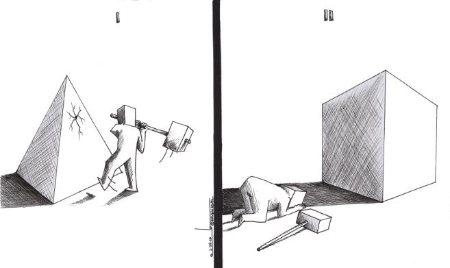 "Cartoon titled: ""Dogmatic Idolatry""  By Iranian American Cartoonist, Kaveh Adel  2015©KavehAdel.com"
