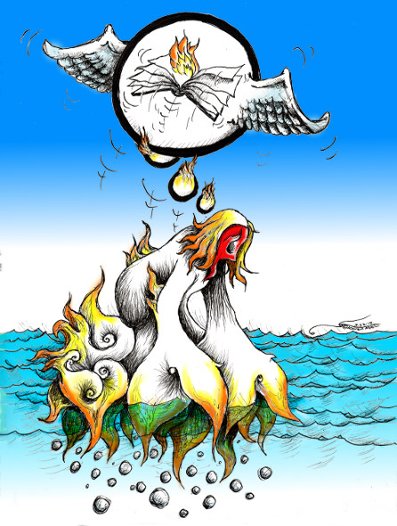 "Cartoon titled: ""Farkhunda""By Iranian American Cartoonist, Kaveh Adel  2015©KavehAdel.com"