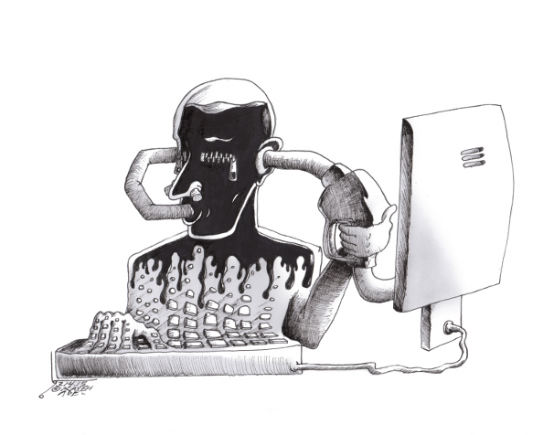 "Cartoon titled: ""Recycled Humanity""  By Iranian American Cartoonist, Kaveh Adel  2015©KavehAdel.com"