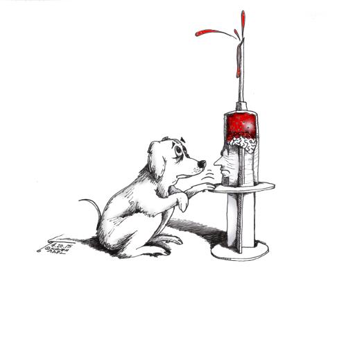 "Cartoon titled: ""Dog Killer""  By Iranian American Cartoonist, Kaveh Adel  2015©KavehAdel.com"
