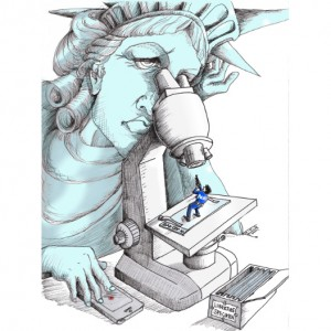 "Cartoon titled: ""Liberty Microscope"" By Iranian American Cartoonist, Kaveh Adel 2015©KavehAdel.com"