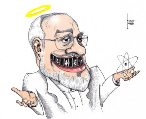 "Cartoon titled: ""Zarif Jester Smile"" By Iranian American Cartoonist, Kaveh Adel 2015©KavehAdel.com"
