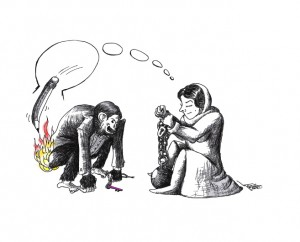 "Cartoon titled: ""Atena's Fire"" By Iranian American Cartoonist, Kaveh Adel."