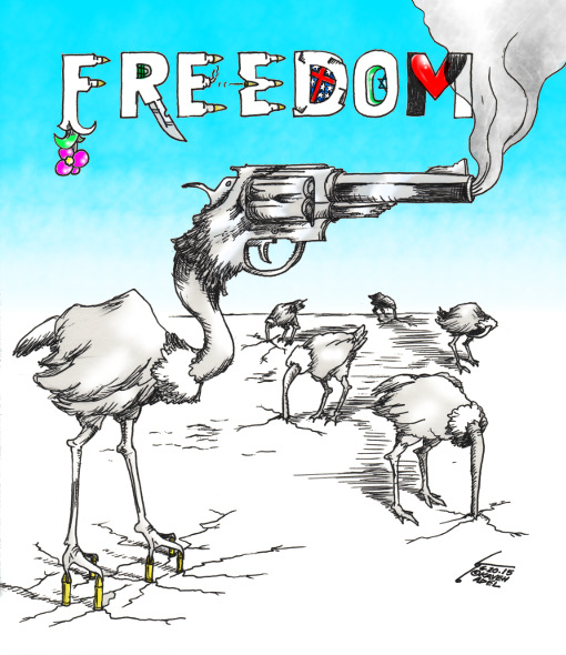 """Cartoon titled: """"Freedom of Complacency""""  By Iranian American Cartoonist, Kaveh Adel  2015©KavehAdel.com"""