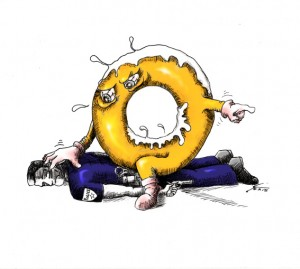 Political cartoon One Angry Donut 2015 Iranian American Cartoonist Kaveh Adel