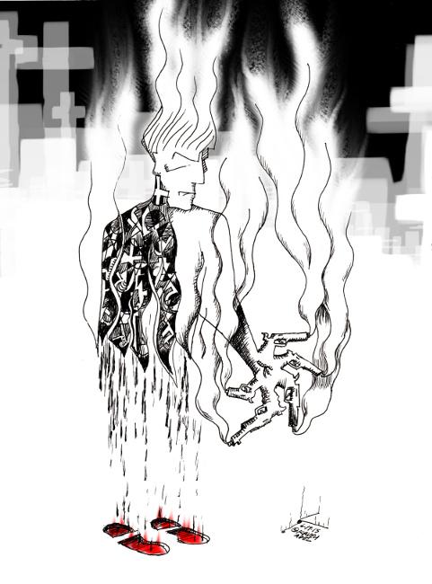 "Cartoon titled: ""Roof of Terror""  By Iranian American Cartoonist, Kaveh Adel  2015©KavehAdel.com"