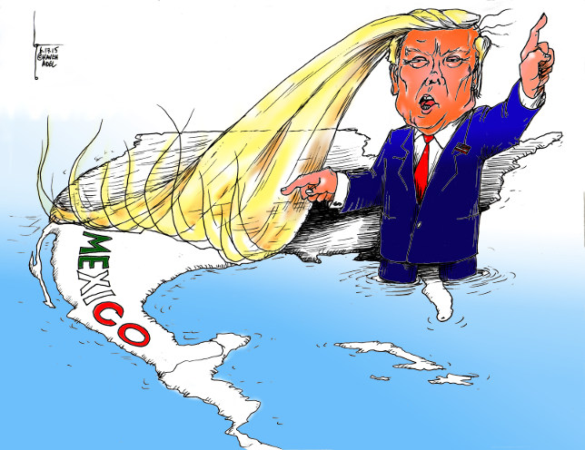 "Cartoon titled: ""Trump Fence ""  By Iranian American Cartoonist, Kaveh Adel. 2015©KavehAdel.com"